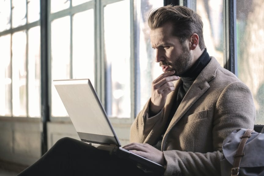 Man doing research online